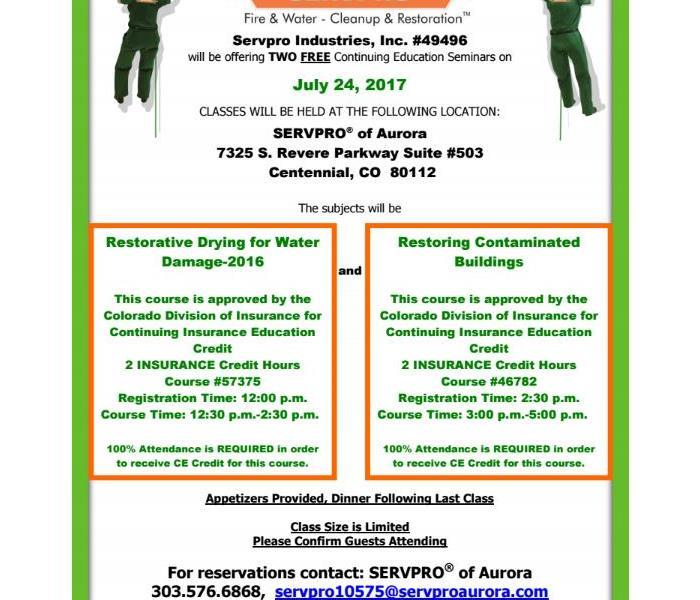 SERVPRO Aurora CE classes July 24th, 2017